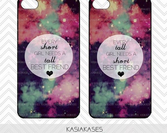 SHORT and TALL bff Case / Galaxy iPhone 4 Case Best Friends iPhone 5 Case iPhone 4S Case iPhone 5S Case One For Your BFF Set of 2 Combo