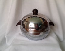Vintage Penguin Ice Bucket West Bend Chrome Hot and Cold Server Bakelite Knob Art Deco Bar Ware FREE SHIPPING