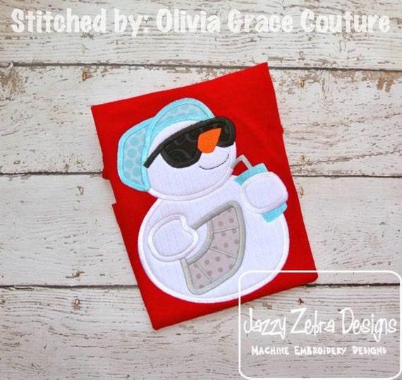 Summer Snowman Appliqué embroidery Design - snowman Applique Design - beach Appliqué Design - summer Applique Design