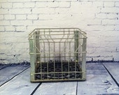 Vintage Metal Industrial Farm Milk Crate Detroit Michigan