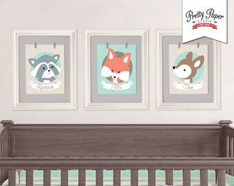 3 Pack Woodland Nursery Wall Art // INSTANT DOWNLOAD // Gender Neutral, Baby Boy or Girl // Printable Fox Nursery Decor // bs01 bs03 bp03