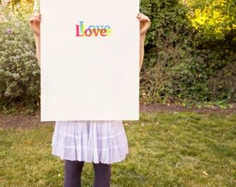 Original Letterpress Poster Letterpress Print Woodblock Poster Woodcut Print Woodblock print home Decor : Love Love Love Valentines Day Gift