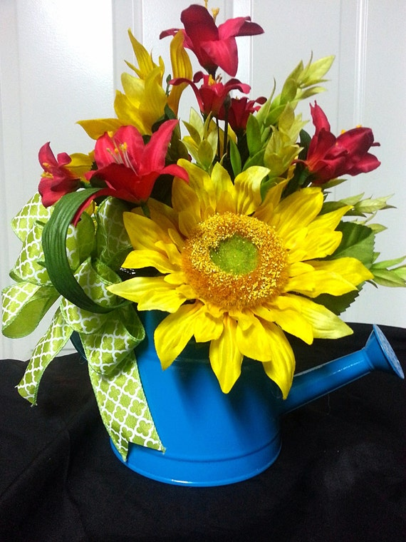 Items similar to sunflower watering can arrangement