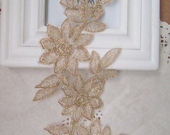 1 pcs Gold Flower Shape Venise Lace Applique Trims Embroidery Craft