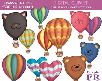 HOT AIR BALLOONS - Digital Clipart, Clip art. 12 images, 300 dpi. jpeg, png files. Instant download.