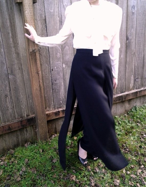 Black Dress Pants With Skirt Overlay By Joseph Ribkoff