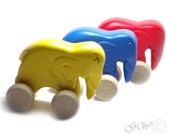 Wooden Toy, Wooden Elephant, Wooden Elephant Toy, Push Elephant Organic Toy Z405