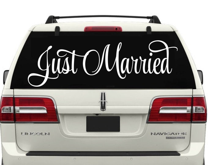 Just Married RLC 9 Car Window Decal W3- Wedding Decor- Just Married Decals- Just Married Car Decals- Just Married Car Window Decals