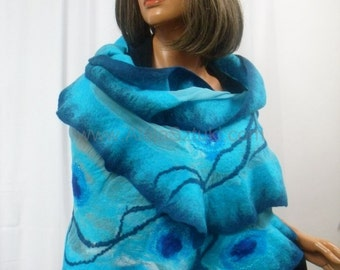 Artistic clothing, silk shawl, silk garments, silk dress, nuno felting, felted, merino wool, turquoise, little black dress, the party