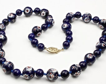 """Vintage Chinese Blue Glass Hand-Painted Bead Strung Necklace 22"""" Long Cobalt"""