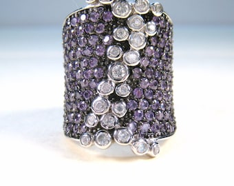 Purple & White Cubic Zirconia Designer Ring size 7.5 - 925 Sterling Silver