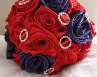 SALE! Special offer 40% off!  Handmade bridal bouquet of satin roses in stunning red and purple with diamante accents