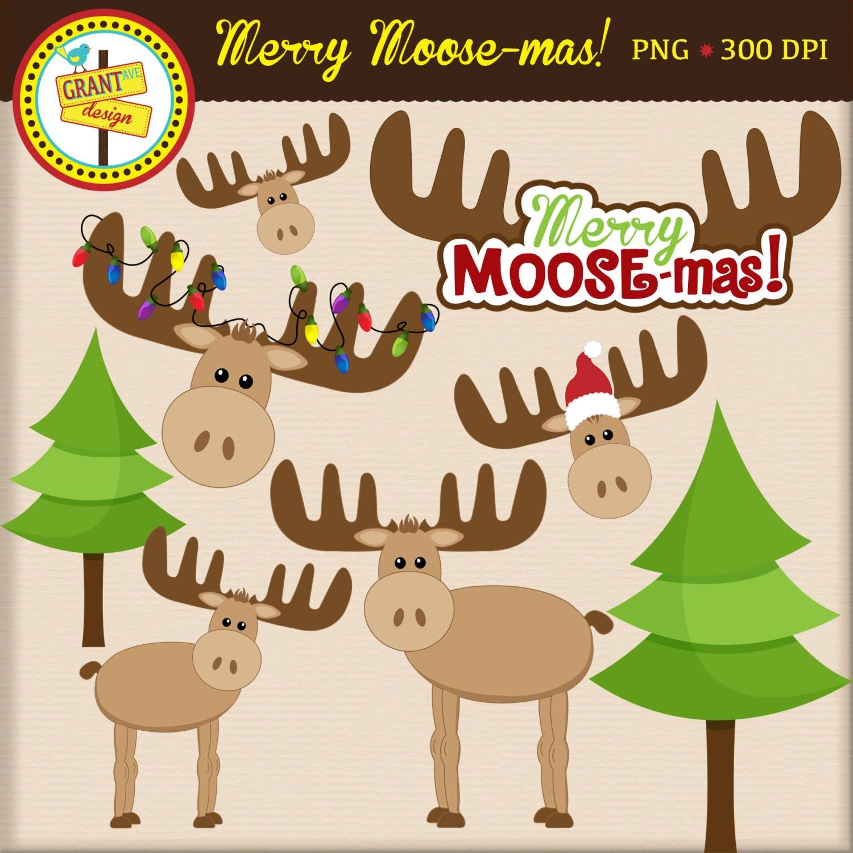 Moose Clipart Christmas Moose Clip Art Cute Digital