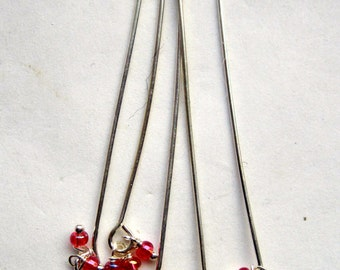 "2"" Head Pins with 3 Bead Dangles 4 Colors Available"