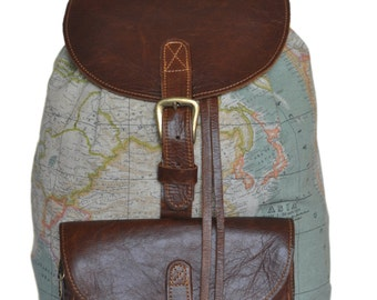 Wanderlust Backpack - Genuine Leather and World Map Atlas Print large Backpack.