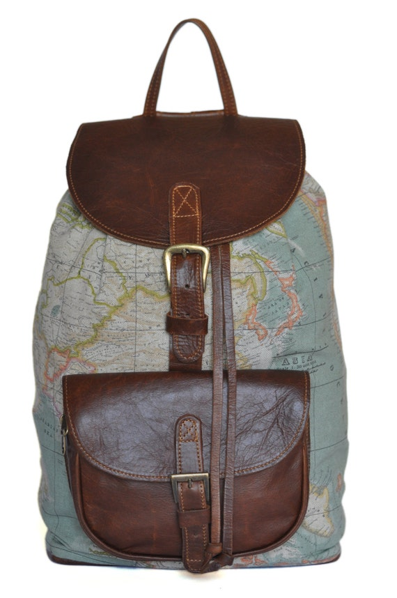 Wanderlust backpack genuine leather and world map atlas like this item gumiabroncs Gallery