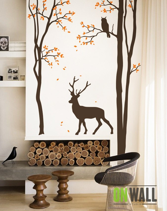 Living room tree wall decal wall sticker deer wall decal for Deer wall mural