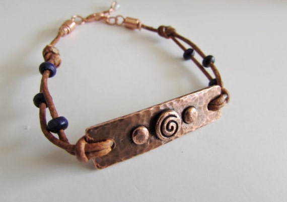 TierraCast® Antiqued Copper-plated Focal Plate with Leather Cord, Embellished Leather and Copper Bracelet, Adjustable