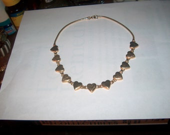 Vintage Costume Jewelry Heart Necklace, Goldtone, Gorgeous