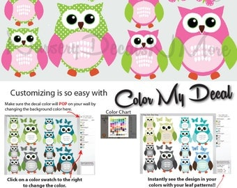 Girls Room Owl Decals, Baby, 12 Owl Stickers, Owl Wall Decals, Nursery (12 Pink Green) 12ROO