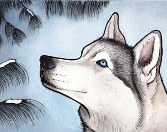 Husky art print  Etsy