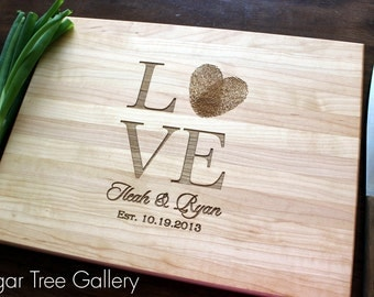 Personalized Cutting Board, Love fingerprints, Love Statue, Wedding Gift, Anniversary Gift, Kitchen Decor, Engagement Gift