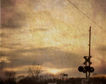 Indiana Photography, Railroad Crossing Photo, Vintage Rustic Art, Country Sunset Photo, Indiana Landscape, Railroad Crossing, Midwestern Art