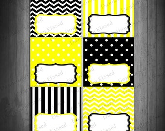 Yellow Black Birthday Baby Shower Digital Printable Food Label Buffet Name Tags Tent Cards DIY