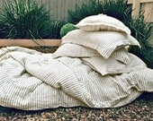 "Stonewashed linen bedding: duvet cover ""Stripes and Buttons"", Queen size"