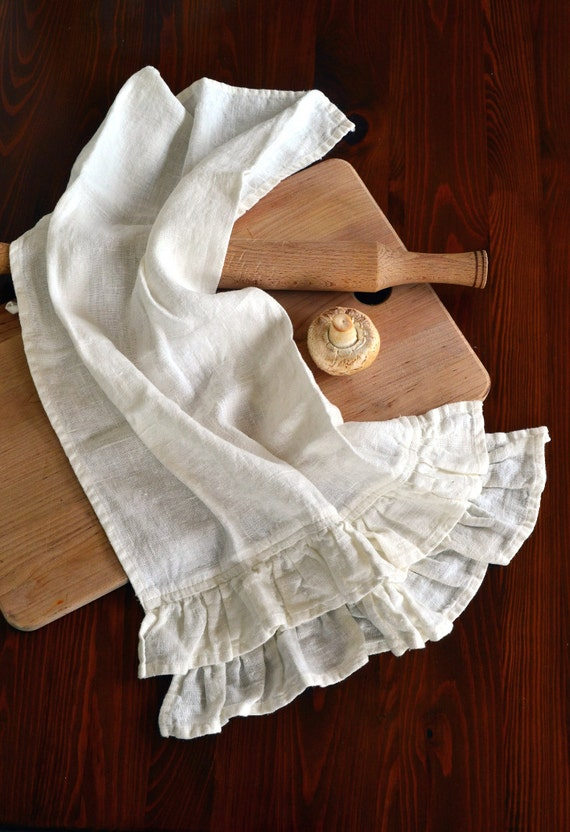 Stonewashed Natural Linen Tea Hand Towel With 2 Rows Of