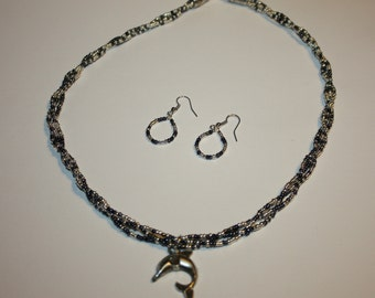 Multi Strand Necklace and Earing Set with Antique Silver Dolphin  Pendant