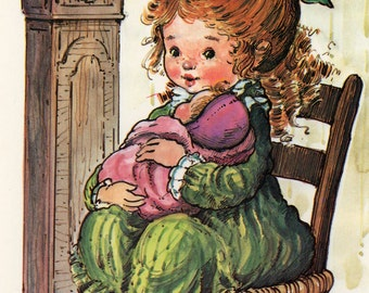 Vintage Postcard 70's Sweet  girl and a baby by Gingi