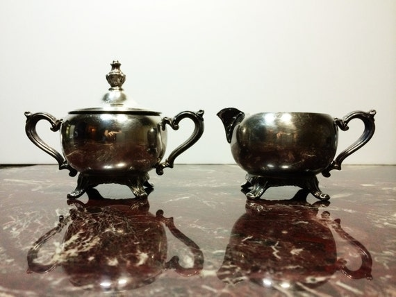 Vintage Silver Plated Sugar And Creamer Set By Primatreasures