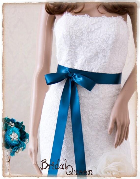 Teal bridal sash satin ribbon sash wedding sash satin ribbon sash