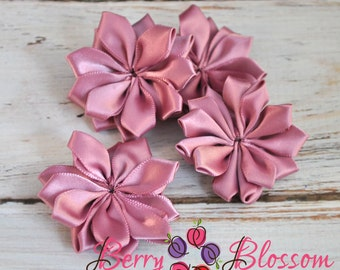 "1.5"" Rose Pink Satin Ribbon Flower - petite small satin ribbon flowers - SF YC145"
