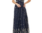 US4 UK8 AUS8 EU36 Navy Blue Vintage inspired 20s Flapper Great Gatsby Charleston Wedding Homecoming speakeasy Prom Maxi Dress New Hand Made