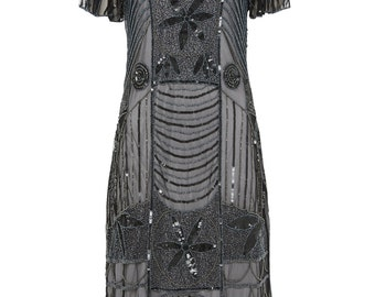 US8 UK12 AUS12 EU40 Daisy Black Silver Flapper Dress with Sleeves 20s Great Gatsby Downton Abbey Art Deco Charleston Bridesmaid WeddingGuest