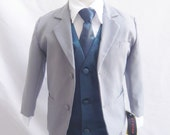 Style 1 - Gray Boy Suit with Navy Blue Vest and Long Tie - Communion, Easter, Party, Wedding - For Baby, Toddler, Boys, Teen and Young Adult