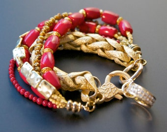Red & Gold Bracelet, Jewelry Trends, Red and Gold, Crystal and Gold, Arm Candy, Stack Bracelet, Beaded Charm Bracelet, Jewelry Trends 2017