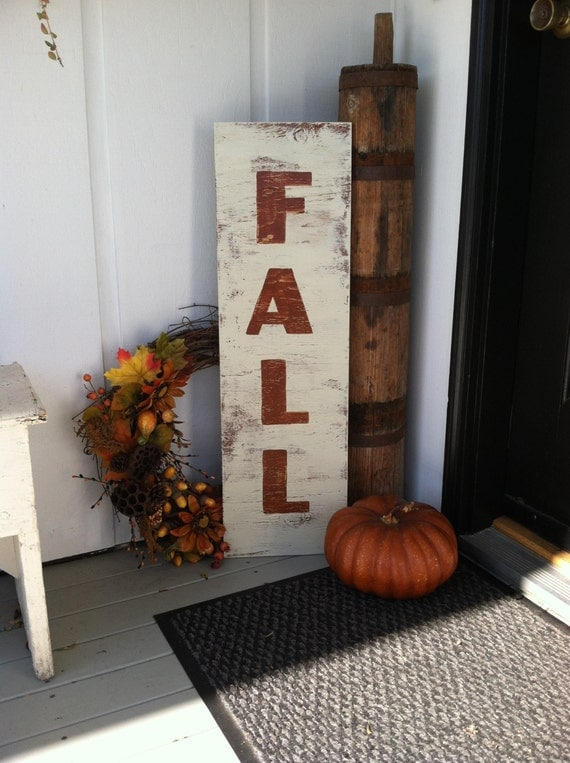 Fall Large Vertical Hand Painted Wooden Sign Rustic