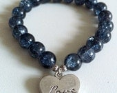Blue Crackle Glass Beaded Bracelet with Love Charm