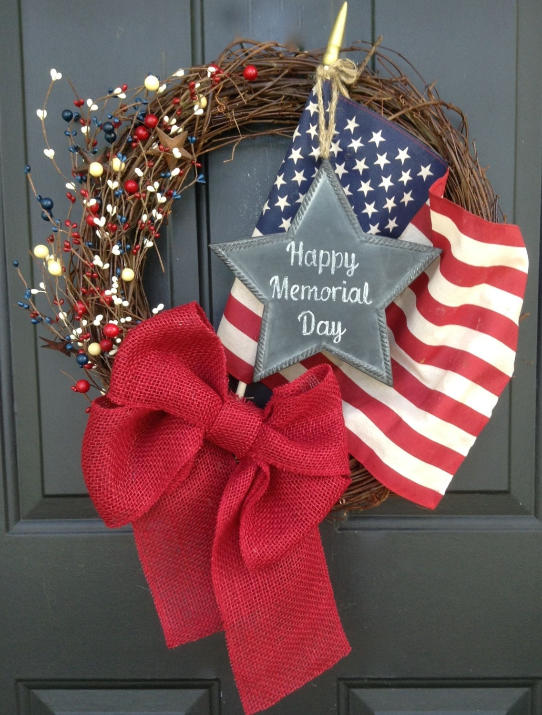 Memorial day wreath patriotic burlap wreath spring wreath for Decoration day