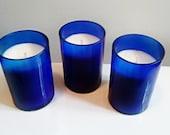 Liquor Wicks Candle Bundle Pack- The Blues- 3 Gorgeous Cobalt Blue Wine Bottle Candles