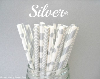 Silver Paper Straws Mixed (Silver - Pack of 25 or 50 Straws) **Weddings, Parties, Showers, Gifts** Silver Party