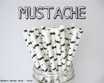 FLASH SALE!!! Mustache Paper Straws (Pack of 25 or 50) **Weddings, Parties, Showers, Gifts** Mustache Party, Little Man Party, Black & White