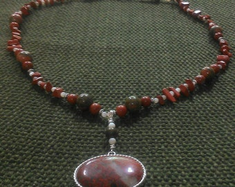 autumn: matinee length stone bead necklace of red jasper, unakite, & white shell; featuring hand wrapped red jasper pendant
