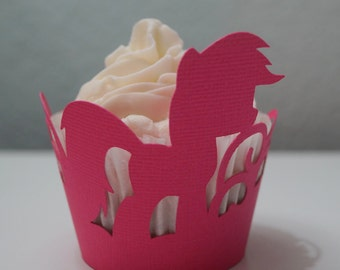 Little Pony Cupcake Wrappers, Pony Theme Party, Custom Color, Cupcake Decor, Handcrafted Party Decor, Party Supplies