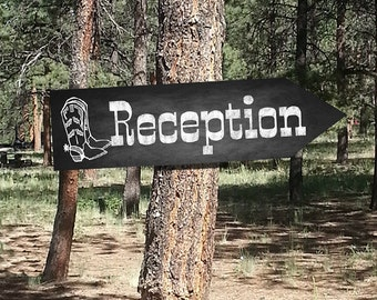 Western Reception DIRECTIONAL Wedding signs - Chalkboard Style - PRINTABLE file - diy Western Wedding or event signage