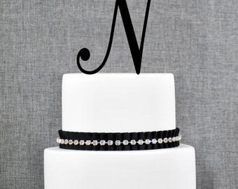 Letter N - Initial Cake Topper, Monogram Wedding Cake Topper, Custom Cake Topper