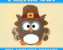 Pilgrim Owl Applique Pattern Template Thanksgiving Costume Owls PDF Download Instant Fabric Shirt Design Print Brother  Wall DIY  Baby Quilt